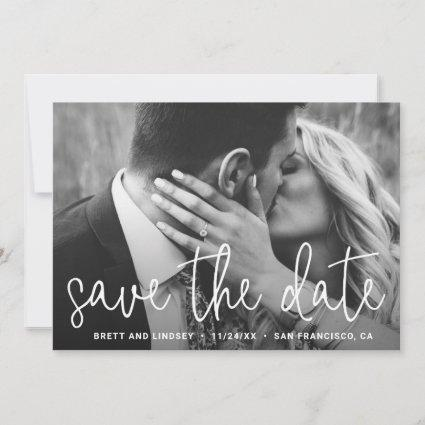 Modern White Thin Script Simple Photo Save The Date