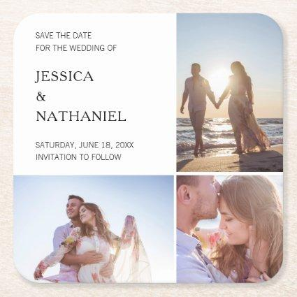 Modern White Three Photo Collage Save the Date Square Paper Coaster