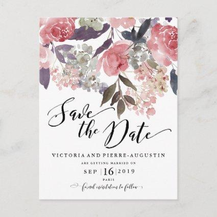 Modern Winter Red Flowers Save the Date Announcement