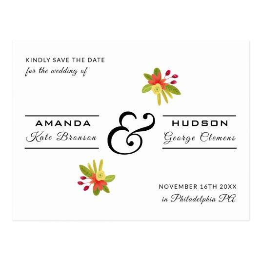 Modern Yellow Salmon Floral Wedding Save the Date Cards