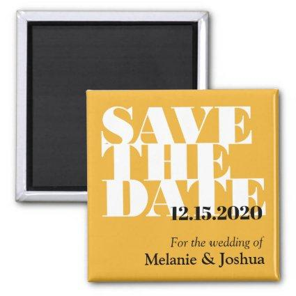 Modern Yellow Typographic Wedding Save The Date Magnet