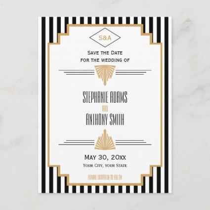 Monogram Black, Gold and White Art Deco Wedding Announcements