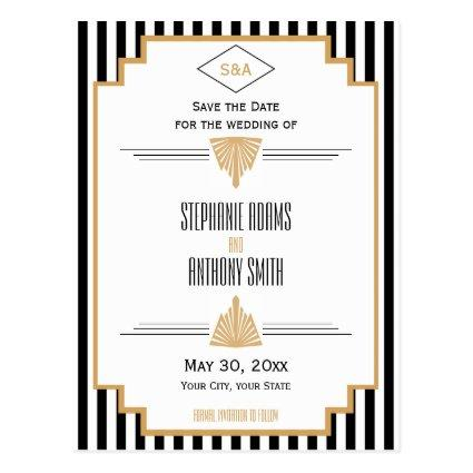 Monogram Black, Gold and White Art Deco Wedding Cards