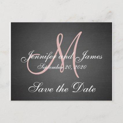 Monogram Chalkboard Save the Date Announcements