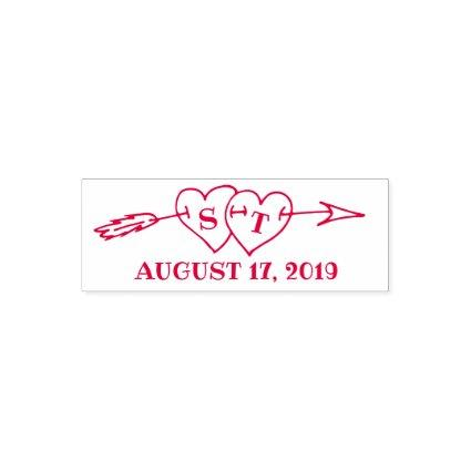 Monogram Hearts with Arrow Wedding Save the Date Self-inking Stamp