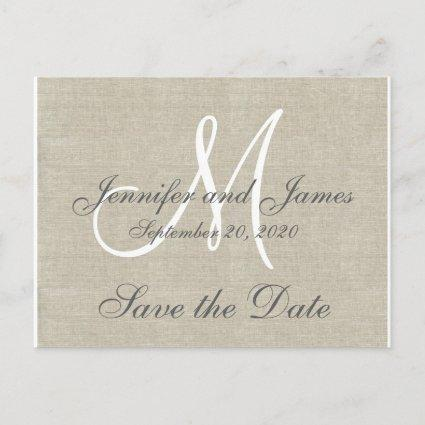Monogram Linen Save the Date Announcements Cards