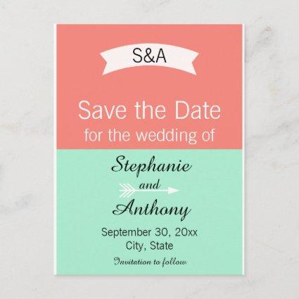 Monogram Mint and Coral Color Block  Announcements Cards