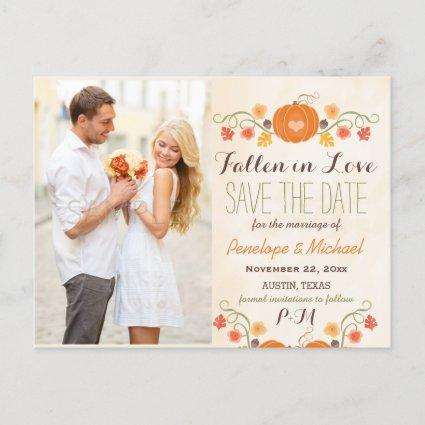 Monogram Pumpkin Fall Wedding Save the Date Announcement