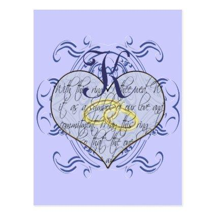 Monogram Wedding Vow Heart Cards