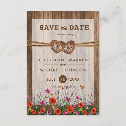 Monogram Wood Hearts with Wildflowers Save The Date
