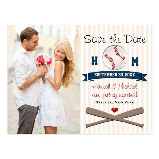 monogrammed baseball themed save the date cards