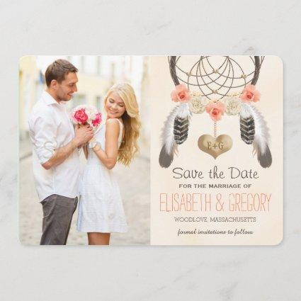 MONOGRAMMED CORAL MINT DREAMCATCHER SAVE THE DATE