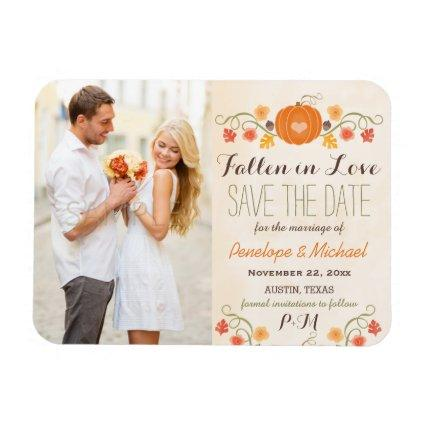 Monogrammed Pumpkin Fall Wedding Save the Date Magnets