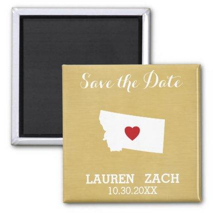 Montana Home State City Wedding Save the Date map Magnets