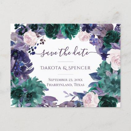 Moody Boho | Eggplant Purple Floral Save the Date Announcement