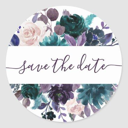 Moody Boho | Eggplant Purple Floral Save the Date Classic Round Sticker