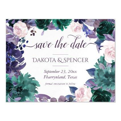 Moody Boho | Eggplant Purple Floral Save the Date Magnetic Invitation