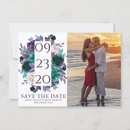 Moody Boho | Purple Floral Wedding Photo Save The Date