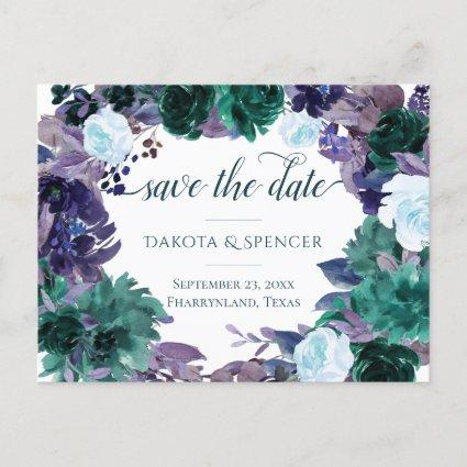 Moody Boho | Teal Purple Bouquet Save the Date Announcement