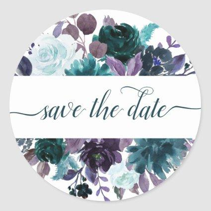 Moody Boho | Teal Purple Bouquet Save the Date Classic Round Sticker