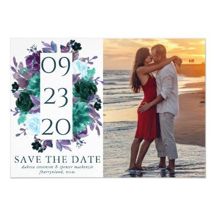 Moody Boho | Teal Purple Bouquet Save the Date Magnetic Invitation
