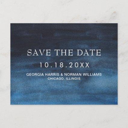 Moody Dark Navy Blue Watercolor Fall Save the Date Announcement