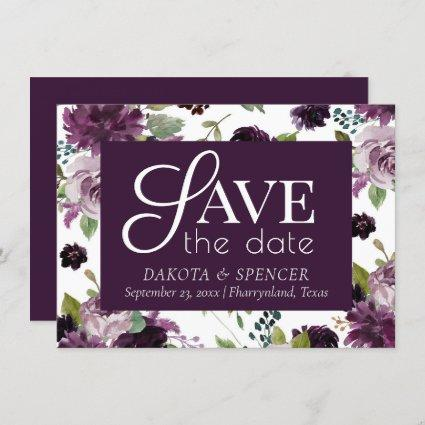 Moody Passion | Dramatic Purple Floral Pattern Save The Date