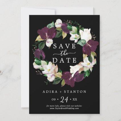 Moody Purple Black Save the Date Announcement Card