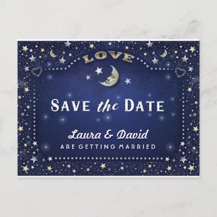 Moon & Stars Blue Gold & White Save Date