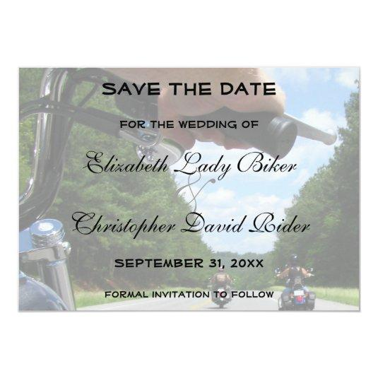 Motorcycle Bike Save The Date Wedding Announcement