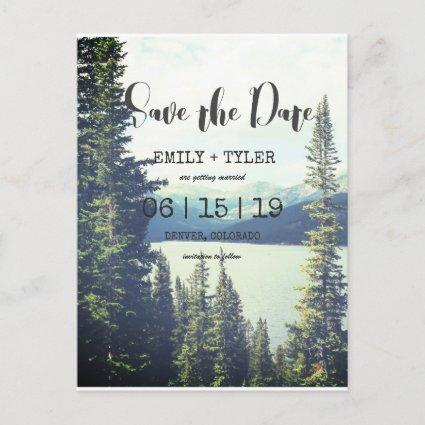 Mountain Woodland Forest Lakeside Save The Date Announcement