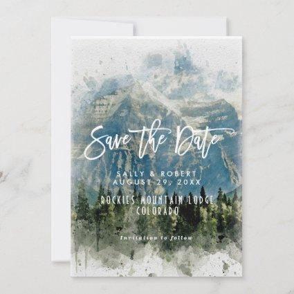 mountains forest wedding save the date card