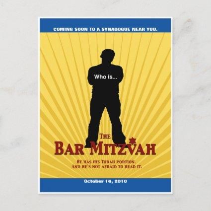 Movie Star Bar Mitzvah Save the Date Yellow Blue Announcement