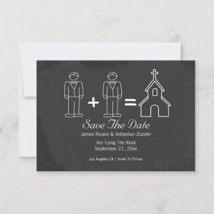 Mr and Mr Doodle Church Gay Save The Date Wedding