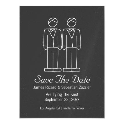 Mr and Mr Doodle Save The Date Gay Wedding Magnetic Invitation