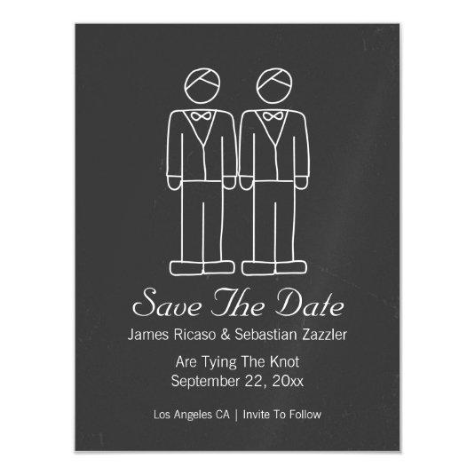 Mr and Mr Doodle Save The Date Gay Wedding Magnetic Invitations
