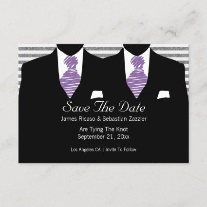 Mr And Mr Two Suits Gay Wedding Purple Save The Date