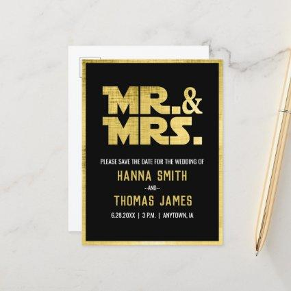 Mr and Mrs Black Gold Sci Fi Theme Save the Date Announcement