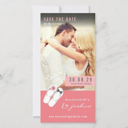 Mr And Mrs Flip Flops Pink Hibiscus Beach Photo Save The Date