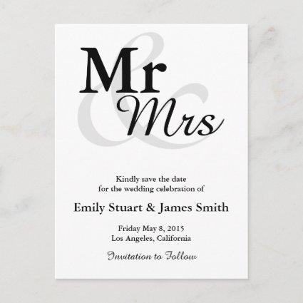 Mr&Mrs Simple Elegant Typography Save the Date Announcement