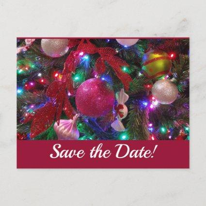 Multicolor Christmas Tree Colorful Save the Date Announcement