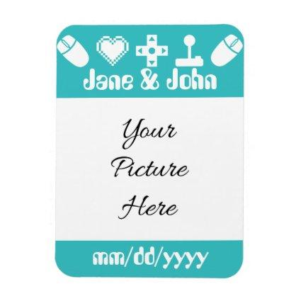 Multiplayer Mode in Turquoise Save-the-Date Magnet