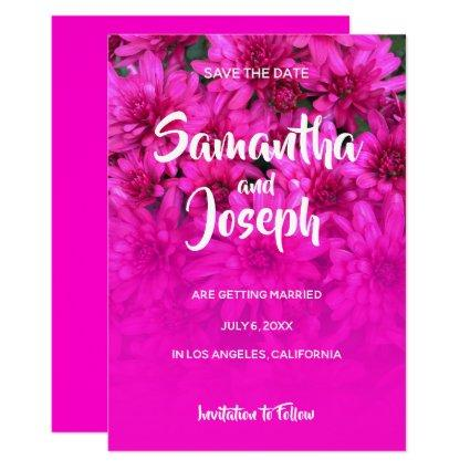 Mums Photo Hot Pink Ombre Save the Date Invitation