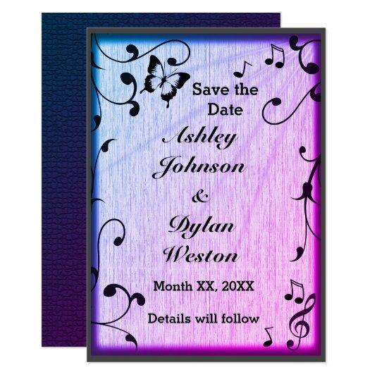 Music, Butterfly, Leaves, Blue & Purple Save Date Card