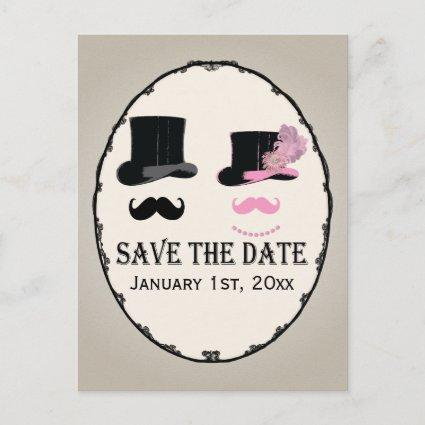 Mustache and Top Hat Save The Date Card