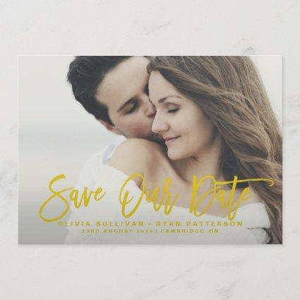 Mustard Rustic Calligraphy Save Our Date Card