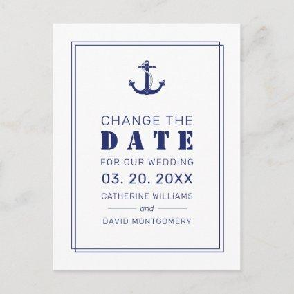 Nautical Anchor Blue Wedding Save the Date Announcement