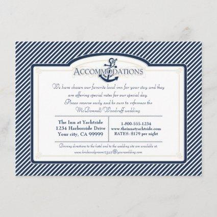Nautical Anchor Boat Diagonal Stripes Swirl Modern Enclosure Card
