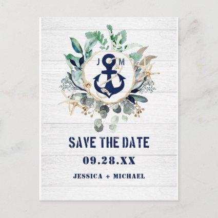Nautical Anchor Floral Rustic Beach Save The Date Invitation