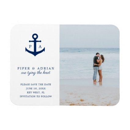 Nautical Anchor Monogram Photo Save the Date Magnet